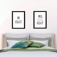 poster schlafzimmer mr right mrs always right 2 stück