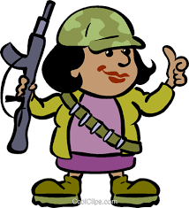 Female Soldier With A Gun Royalty Free Vector Clip Art Illustration
