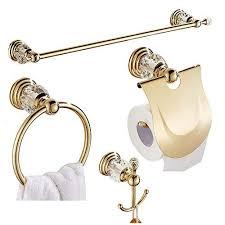 wincase kristall badezimmer zubehör set handtuchstange goldfarben wandbefestigung goldenes handtuchring gestell 61 cm papierhalter