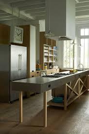 zink freestanding island wooden shelving modern kitchen design