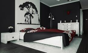 Killer Modern Red Black And White Bedroom Decoration Using Tree Wall Mural Including Paint