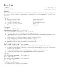Resume For Work Sample Social Services Examples Example Download 3