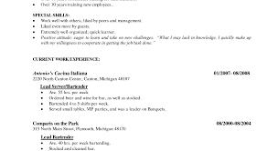 cocktail waitress resume exle bartender resume exles