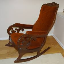 Antique Mahogany Upholstered Rocking Chair
