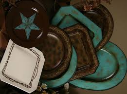 4 Stoneware Dinnerware Set Serving Pieces Featuring Hand Painted Turquoise Stars On Chocolate Brown Will Be The Highlight Of Your Rustic Table Setting