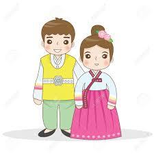 Korean Traditional Dress Stock Vector