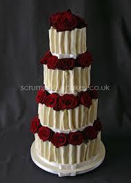 White Chocolate Ruffle Amp Fresh Red Rose Wedding Cake Pj X on Cake Central