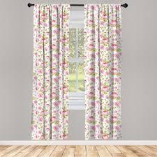 gardine fensterbehandlungen 2 panel set für wohnzimmer schlafzimmer dekor abakuhaus rosa blätter vintage peony muster kaufen otto