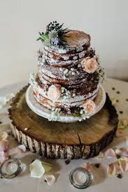 Naked Cake Sponge Layer Tower Log Flowers Pink Winter Wonderland Wedding