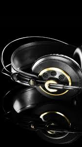 Studio Headphones Black Gold Android Wallpaper free