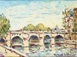 robert le berger le pont neuf oil on canvas