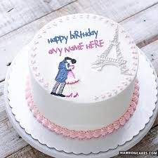Romantic Birthday Cake For Lover With Name