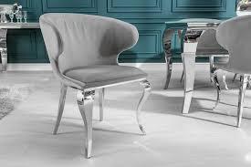 eleganter stuhl modern barock ii edel grau samt edelstahlbeine riess ambiente de