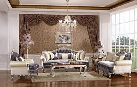 Modern Classic Living Room Design With Brown Floral Curtain And