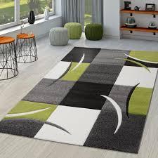 teppich wohnzimmer modern palermo mit konturenschnitt in grau grün schwarz größe 80x150 cm