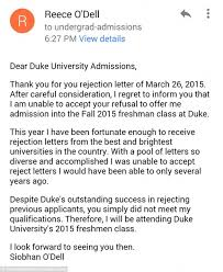 Siobhan O Dell s turns down Duke University college rejection