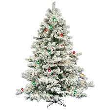 Flocked Alaskan 6 6quot White Artificial Christmas Tree With 600 Multicolored Lights