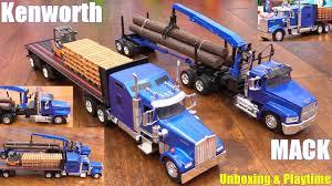 Diecast Toy Trucks Semi Hauler Trucks Kenworth And Mack Unboxing ...