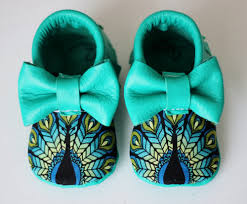 peacock bow moccs baby toddler moccasins clothes shoes baby shower