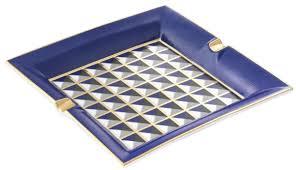 casa padrino luxus porzellan design aschenbecher blau mehrfarbig 24 5 x 24 5 x h 3 5 cm wohnzimmer accessoires