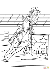 Horse Barrel Racing Coloring Page For Riding Pages