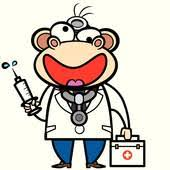 Foam Finger Cartoon Monkey Doctor With First Aid Kit And Syringe