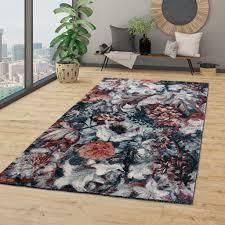 wohnzimmer teppich kurzflor esszimmer blumen muster boho style modern in grau rosa größe 160x230 cm