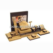 New India Jewelry Display Wooden Suede Jewellery Window Set