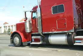 Red Semi Truck With Sleeping Cabin, Speeding Down Highway Stock ...