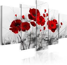 murando handart bilder auf leinwand blumen 100x50 cm 5 tlg leinwandbild wandbilder wohnzimmer wanddekoration moderne kunst mohnblumen rot schwarz