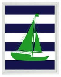 beach nautical initial art print set pink navy blue white