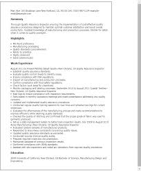 Quality Assurance Inspector Marvelous Control Resume Examples