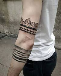 Awesome Band Arm Tattoos With Black Ink Color For Men
