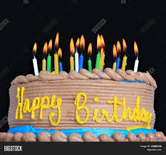 Happy Birthday Cake Lots Candles Image &