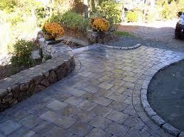 paver patio walkway raised edge for around bay windows home