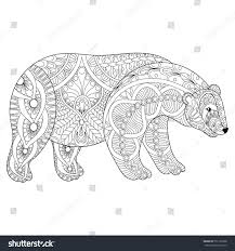Vector Zentangle Polar Bear Head For Adult Anti Stress Coloring Pages Book White
