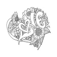 Wedding Shower Adult Coloring Page Love Heart Digital Wildflower Floral Color Sheet For Instant Download