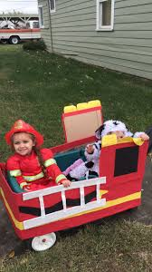 DIY Firetruck Wagon For Halloween. Cardboard, Butcher Paper, Mod ...