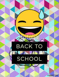 Back To School Vector Poster Emoji Laughing Embarassed On A Stunning Iridescent Seamless Geometric Pattern