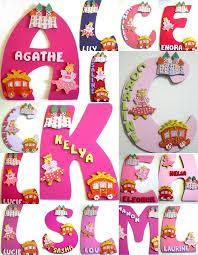 lettre decorative pour chambre bébé plaque de porte lettre initiale prénom thème princesse
