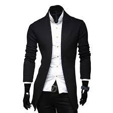 black gray long mens cardigans v neck long sleeve casual slim