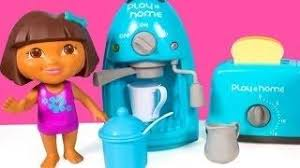 dora the explorer coffee maker toaster play home cooking set