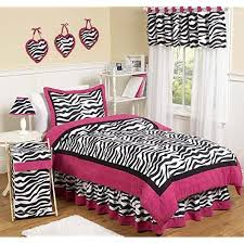 Hot Pink Black White Funky Zebra Childrens And Teen 3 Piece Full Queen Girls Bedding Set