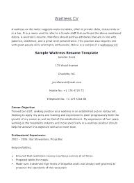 Resume Work Experience Examples For Waitress And Sample
