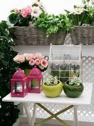 Accesories On Flower Balcony Garden