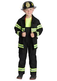 Kids Black Fireman Costume - Children's Firefighter Uniform Costumes
