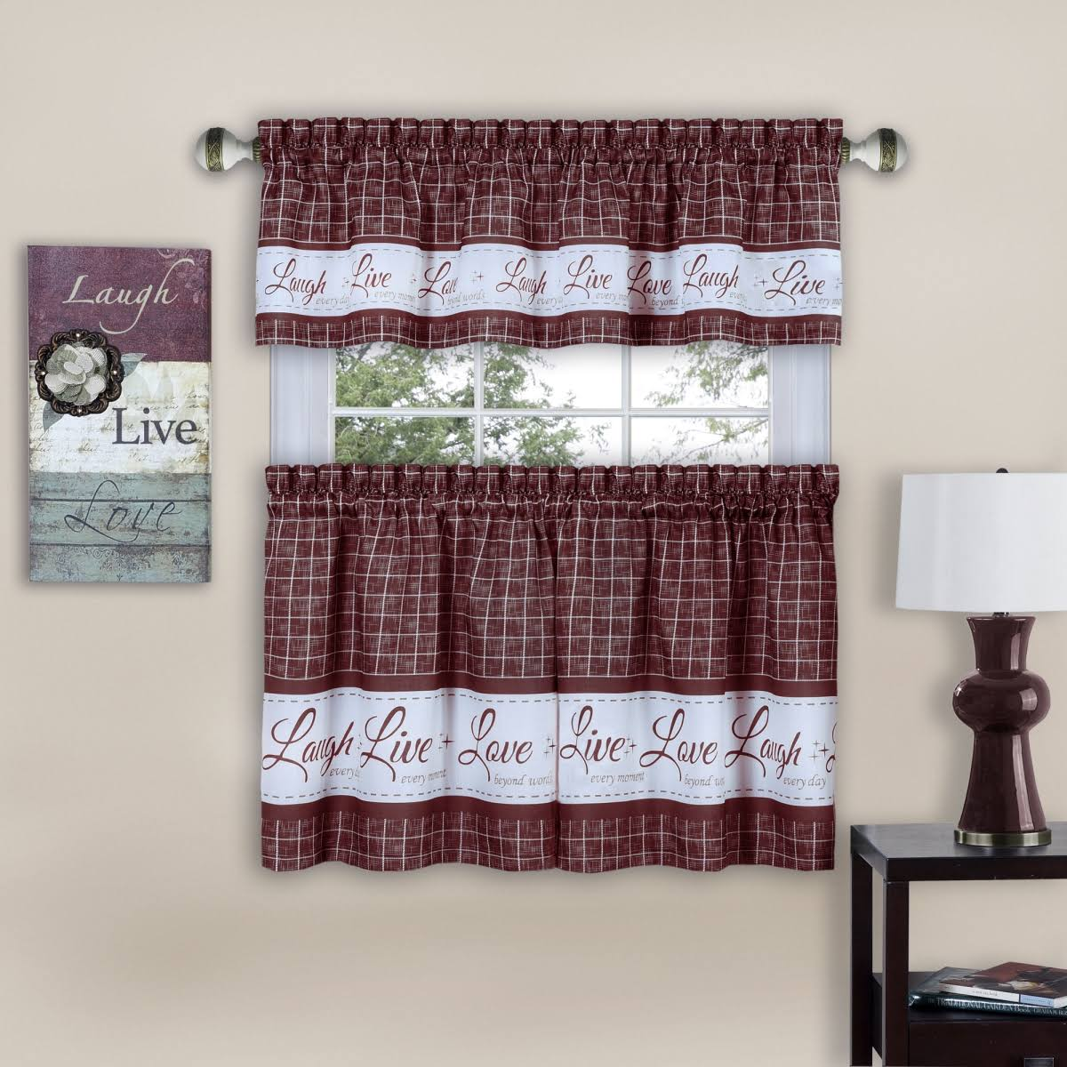 Achim Burgundy Live, Love, Laugh Window Curtain Tier Pair and Valance Set