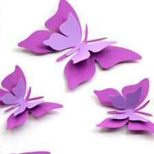 Purple Butterfly Wall Art Butterflies Decor Paper 3d
