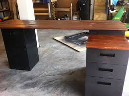 furniture reclaimed wood corner desk which furnished with metal