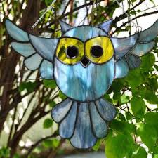 Stained Glass Bird Owl Suncatcher In Blue Gray And Yellow Window Haning Decoration